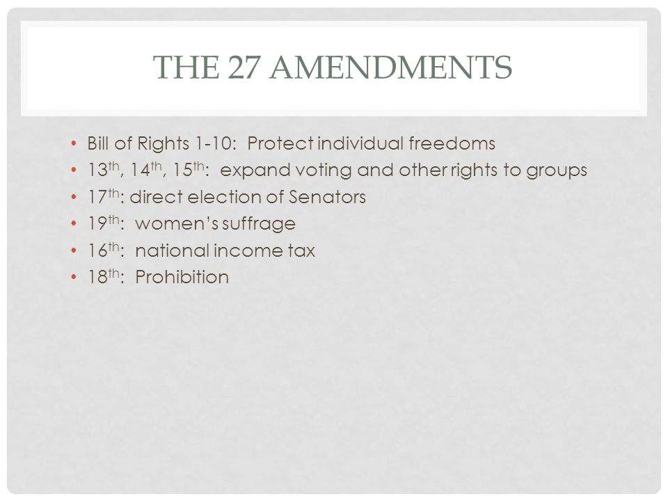 The 27 Amendments Bill of Rights 1-10: Protect individual freedoms