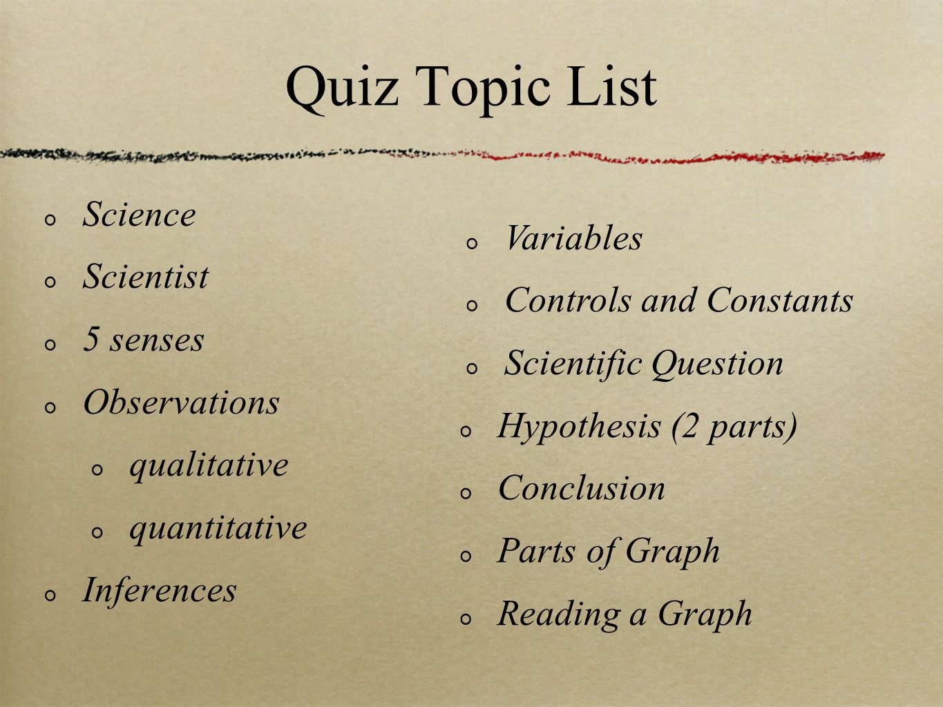 Quiz Topic List Control Variables Controls and Constants Science