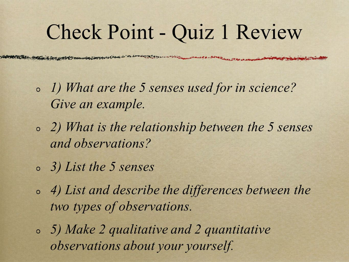 Check Point - Quiz 1 Review