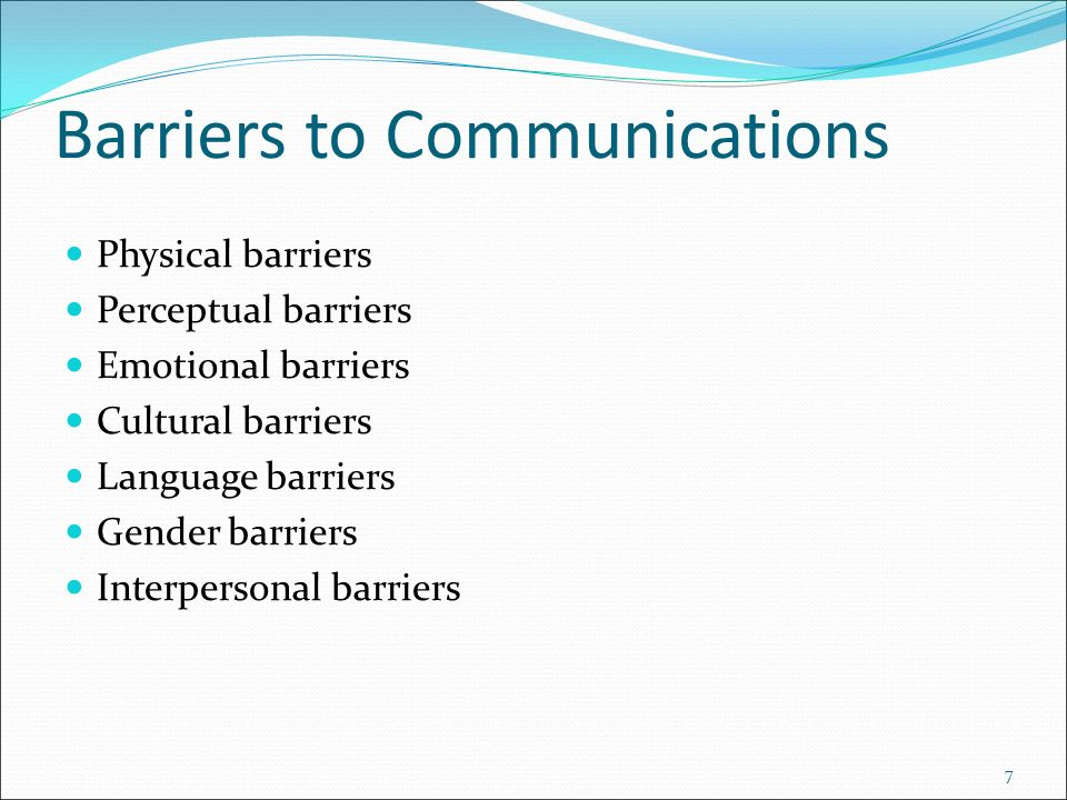 types of communication and the barriers There are different types of barriers that can pose challenges to effective communication in the socialmettle article to follow, you will understand about physical barriers in communication.