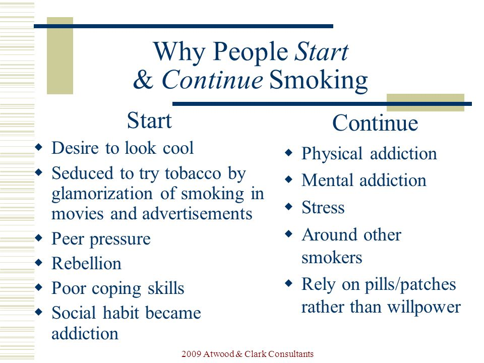a discussion of the reasons why people start smoking Smoking is on the decline, but some people are still lighting up why the answer is addiction  there are no physical reasons to start smoking.