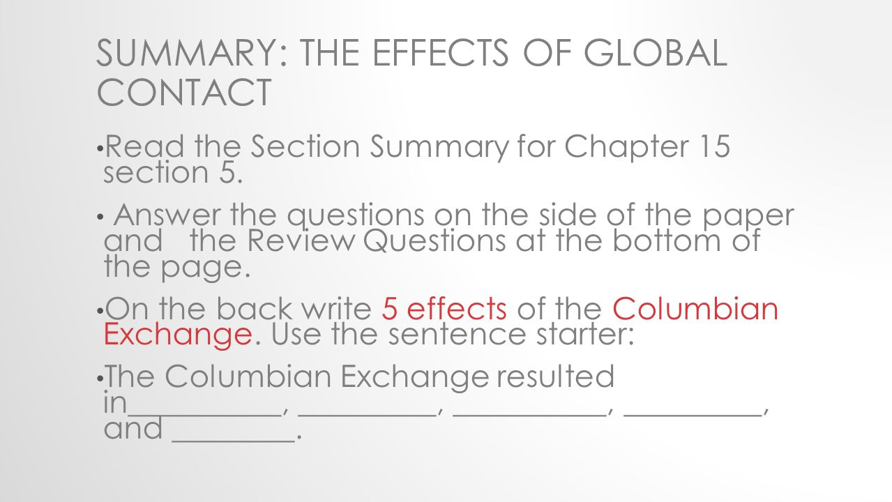 Consequences of the columbian exchange essay