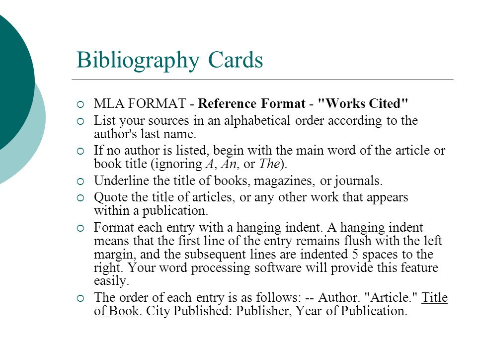bibliography card paper research write Persons attempting to write up original research will sources consulted in the course of writing a paper (see next page) the bibliography card contains the.
