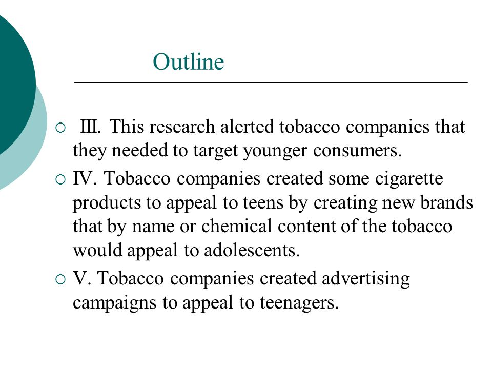 Outline III. This research alerted tobacco companies that they needed to target younger consumers.
