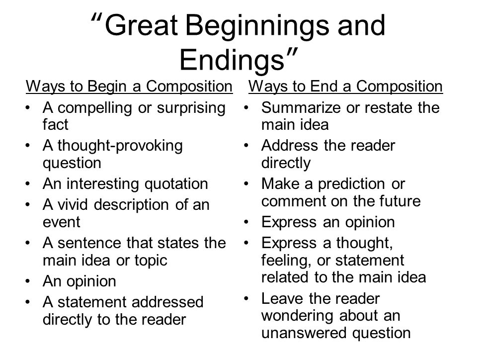 Small beginnings great endings for essays