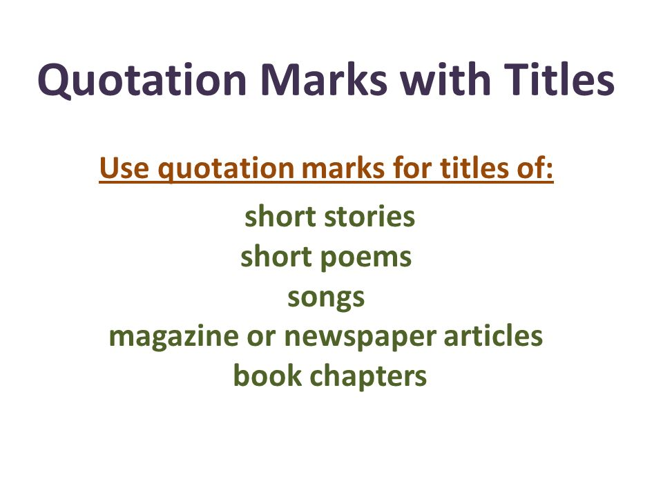 Quotation Marks with Titles