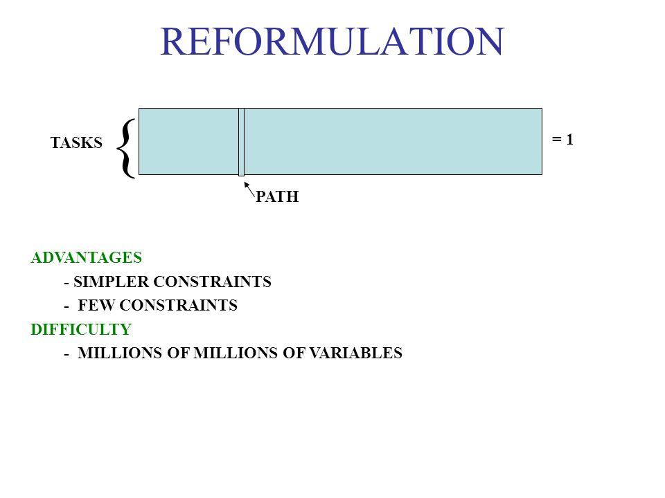 { REFORMULATION = 1 TASKS PATH ADVANTAGES - SIMPLER CONSTRAINTS