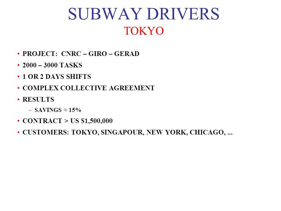 SUBWAY DRIVERS TOKYO PROJECT: CNRC – GIRO – GERAD 2000 – 3000 TASKS