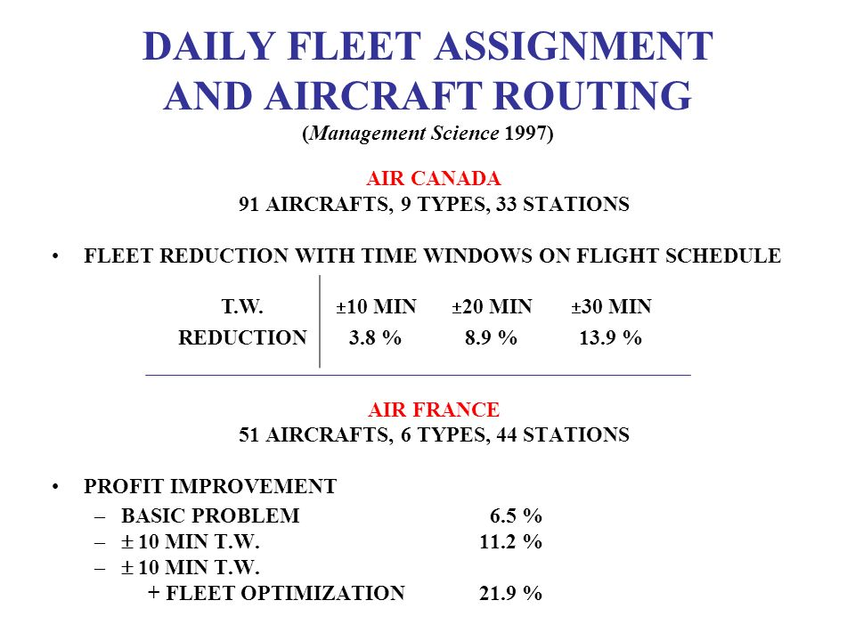 DAILY FLEET ASSIGNMENT AND AIRCRAFT ROUTING (Management Science 1997)