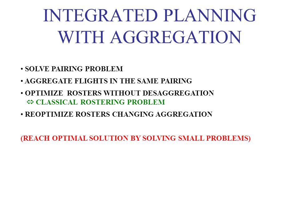INTEGRATED PLANNING WITH AGGREGATION