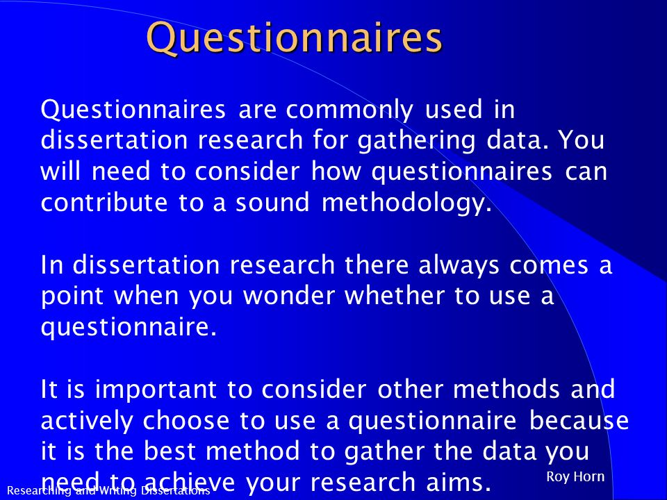 questionnaires used in dissertation