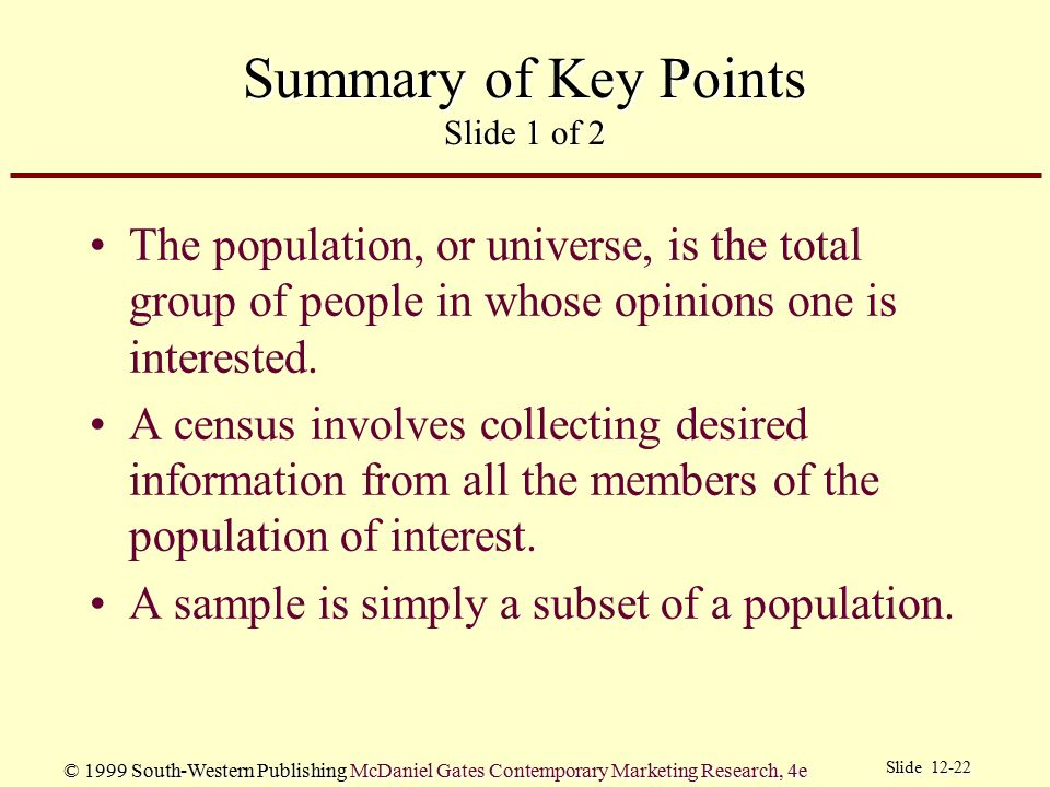 Summary of Key Points Slide 1 of 2