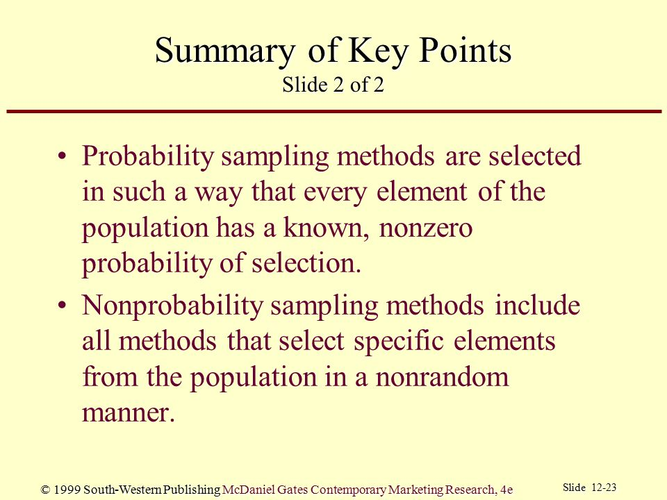 Summary of Key Points Slide 2 of 2