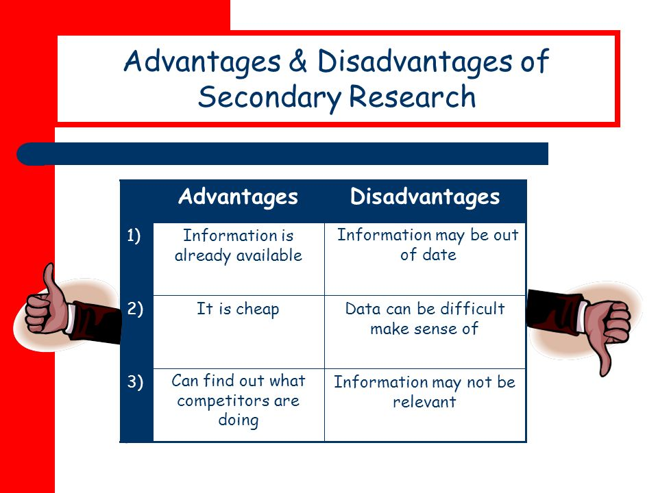 secondary research disadvantages With both types of market research, there are positives and negatives to them making secondary research more useful in some areas than primary research and vice versa.
