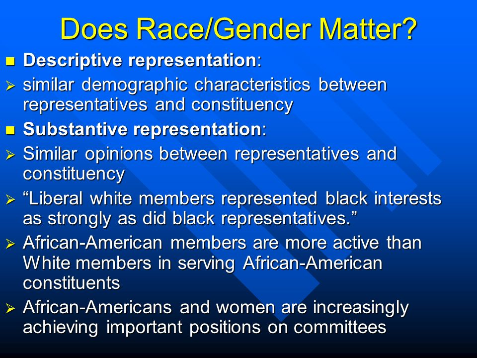 race and representation in congress Since the creation of minority-dominated congressional districts eight years ago, the supreme court has condemned the move as akin to political apartheid, while many african-american leaders argue that such districts are required for authentic representation.