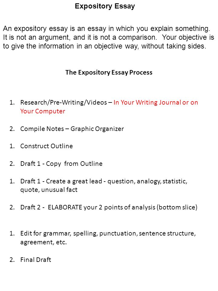 organize expository essay This organizer/web focuses on the 5 paragraph expository essay it includes clip art and is the perfect tool to help brainstorm for an essay i require my students to complete the organizer before they start to write their essay.