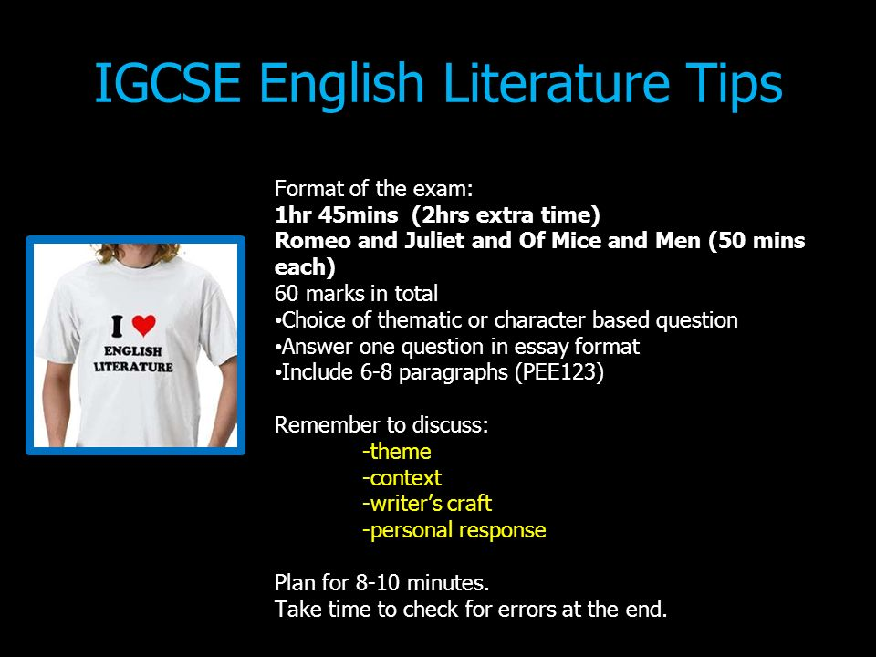 igcse english literature essay structure