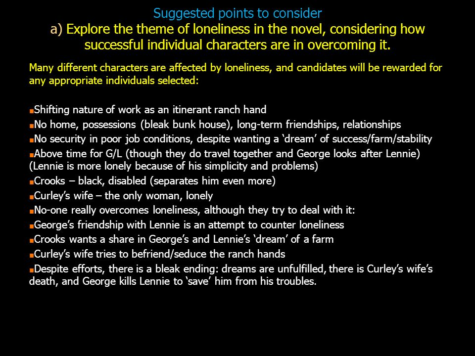 "how crooks is affected by loneliness Of mice and men notes - download as word doc  crooks crooks dreams  loneliness the book being set ""a few."