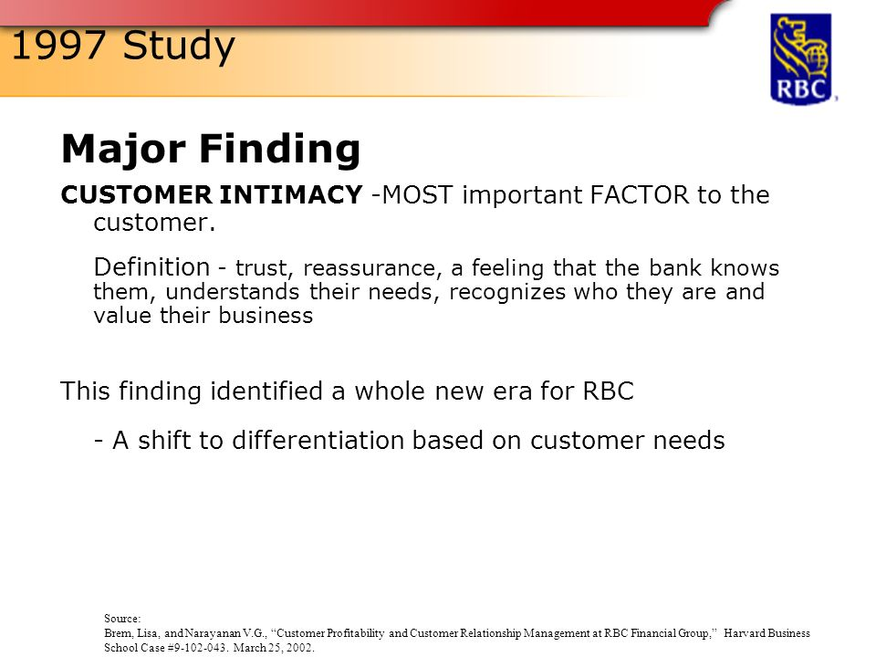 customer relationship management case royal bank For royal bank of canada (rbc), the quest for customer focus began when the company discovered that it knew much less about the needs of its customers than it thought.