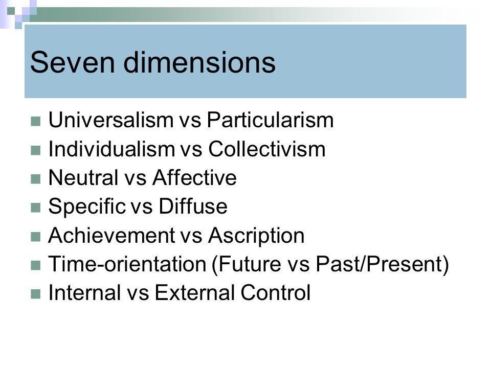 Seven dimensions Universalism vs Particularism
