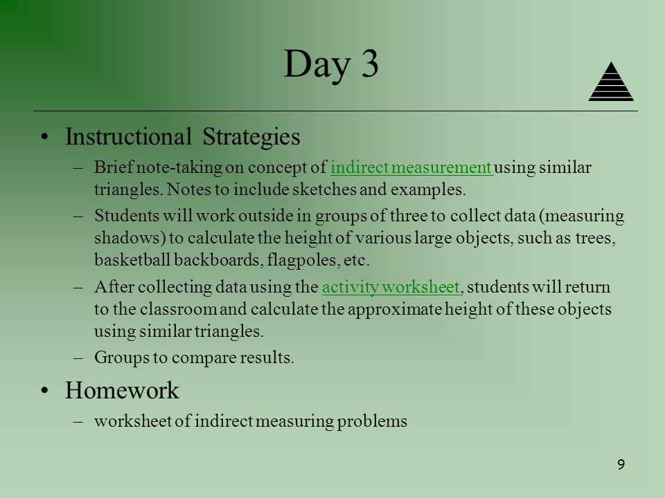 A High School Geometry Unit by Mary Doherty ppt download – Indirect Measurement Worksheet