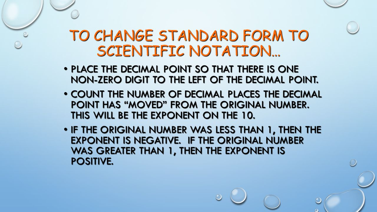 Measurement and calculations ppt video online download to change standard form to scientific notation falaconquin