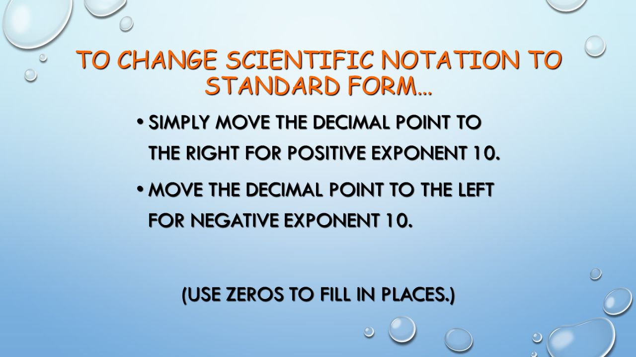 Measurement and calculations ppt video online download to change scientific notation to standard form falaconquin