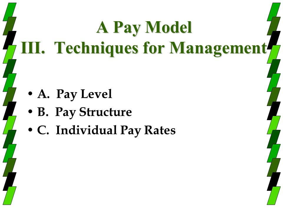 A Pay Model III. Techniques for Management
