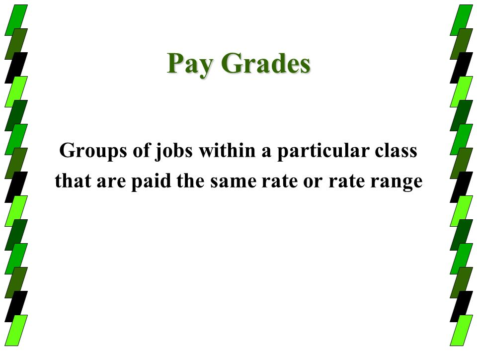 Pay Grades Groups of jobs within a particular class