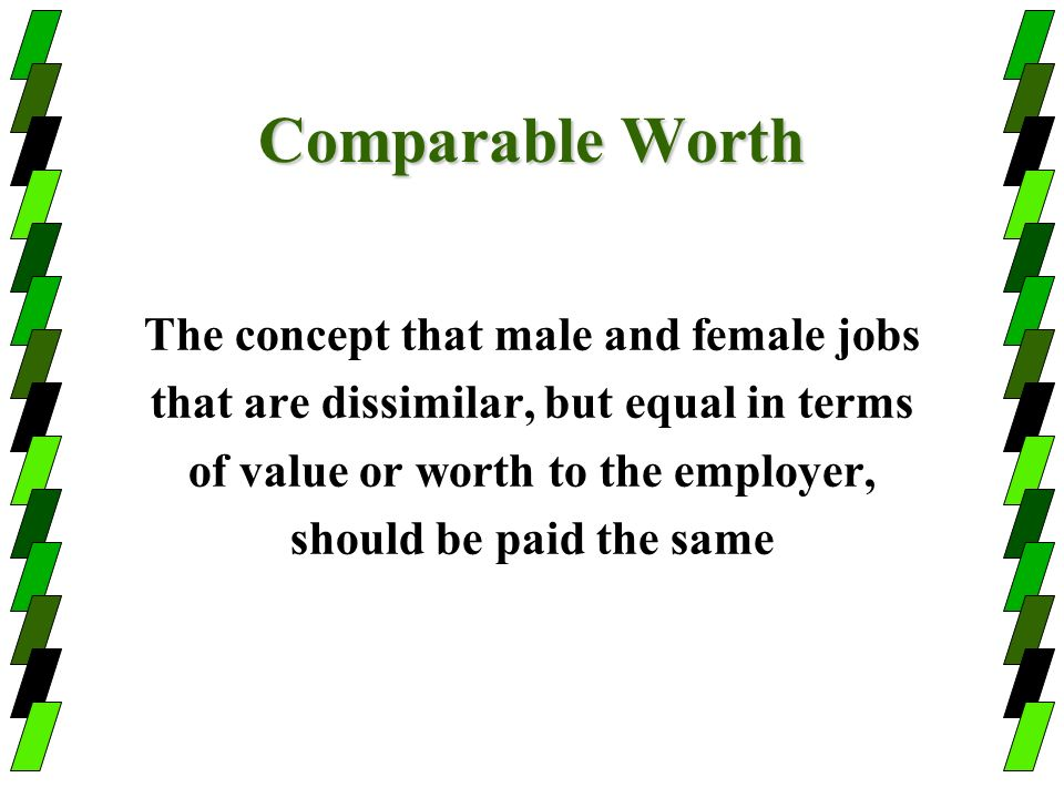 Comparable Worth The concept that male and female jobs