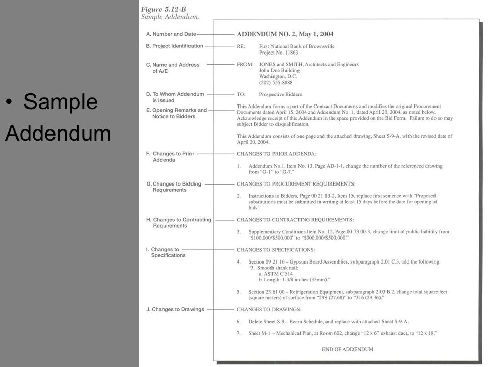 The bid documents overview of the construction industry for Construction addendum template