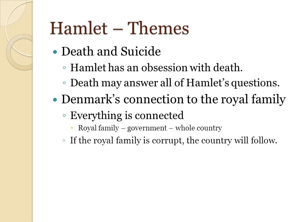 """hamlet themes corruption Shakespeare's tragedy hamlet touched on a wide range of themes,  stewed  in corruption, honeying and making love / over the nasty sty""""."""
