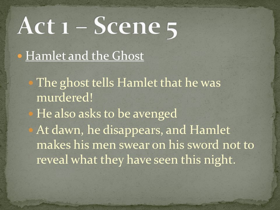 hamlet ghosts speech act 1 Actually understand hamlet act 1, scene 5 read every line of shakespeare's original text alongside a modern english translation.