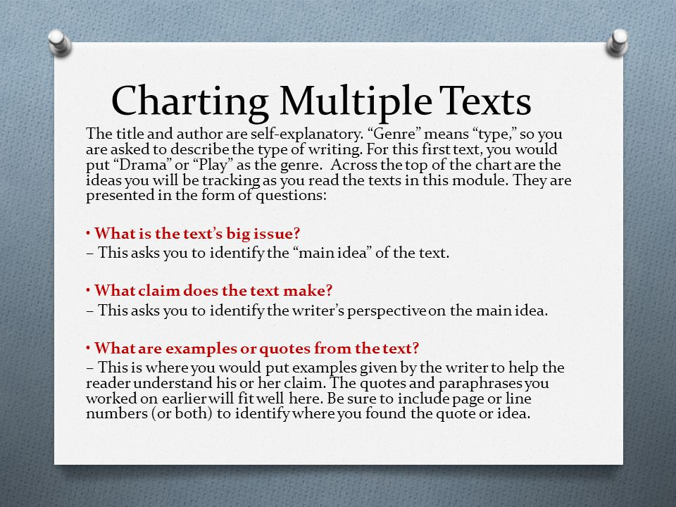 charting claims across multiple texts Multiple text comprehension (mtc) refers to the processes and behaviors   charting a course for the evolution of this rapidly developing field  and  integrating information across multiple documents (rouet & britt, 2012.