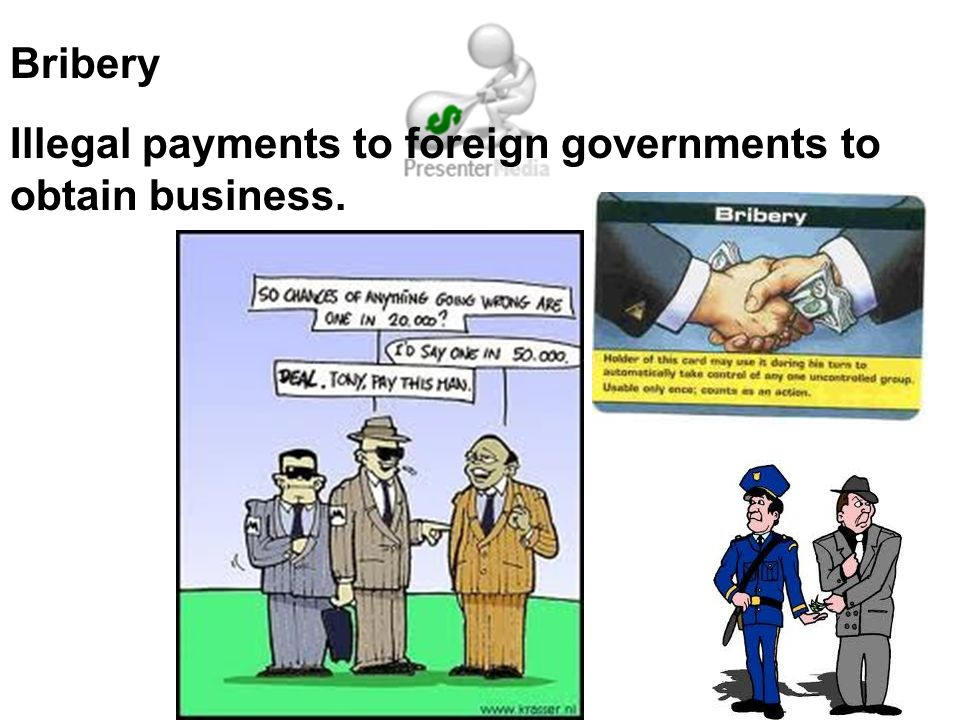 Bribery Illegal payments to foreign governments to obtain business.