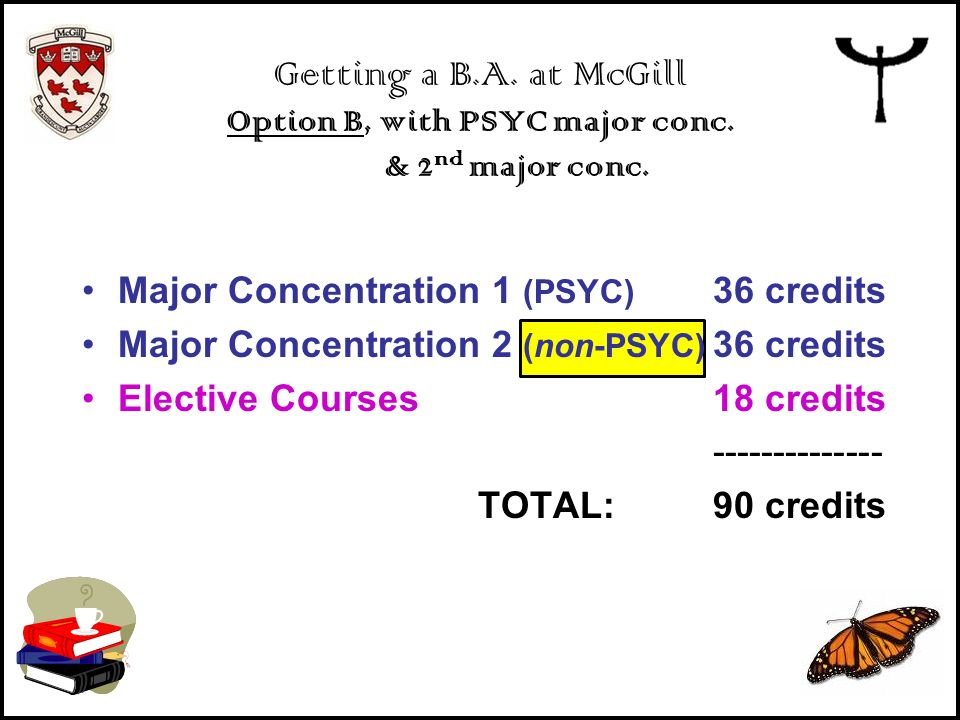 Getting a B. A. at McGill Option B, with PSYC major conc
