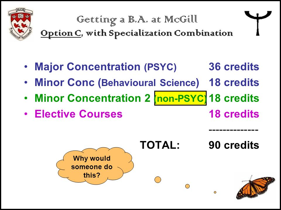 Getting a B.A. at McGill Option C, with Specialization Combination