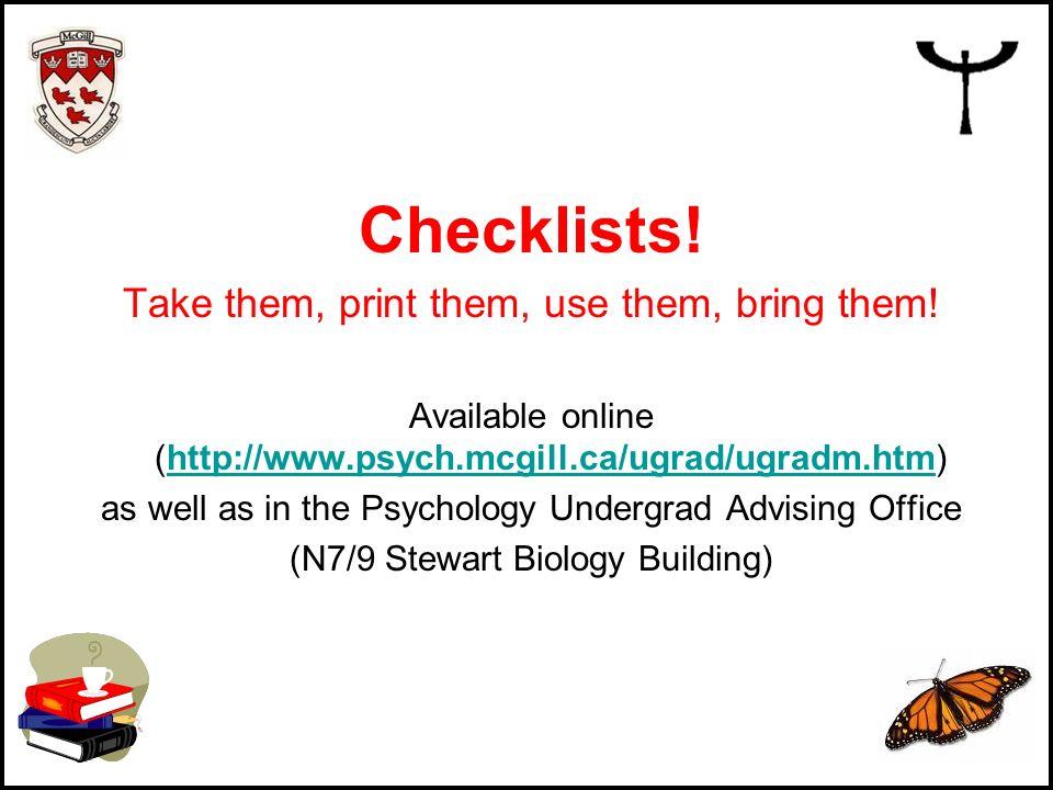 Checklists! Take them, print them, use them, bring them!