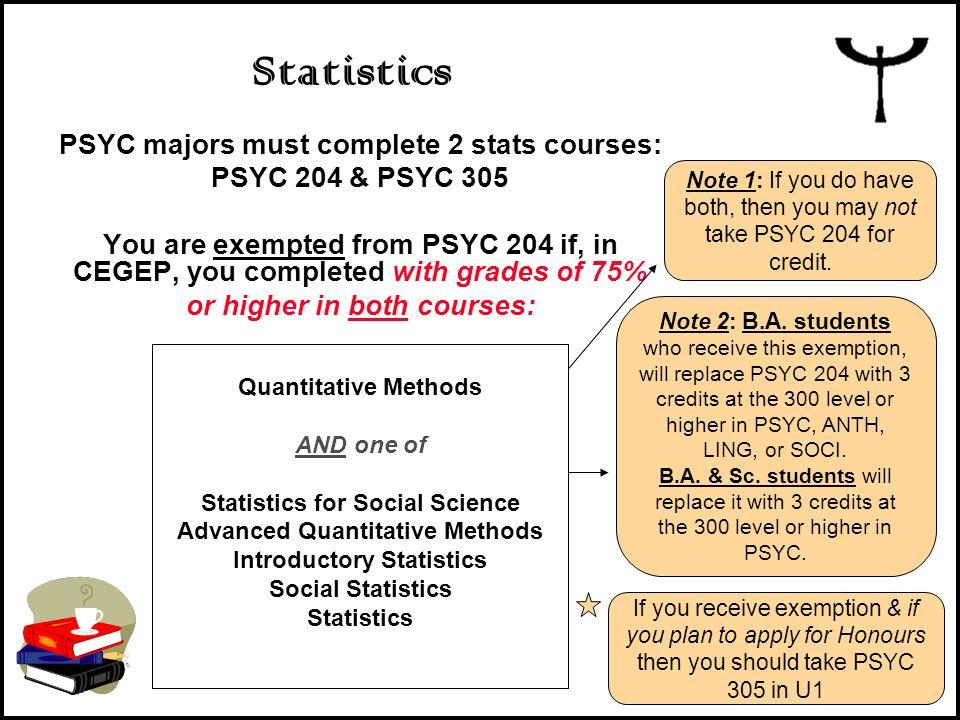 Statistics PSYC majors must complete 2 stats courses: