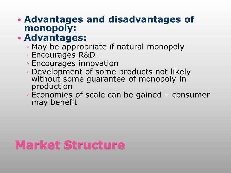 disadvantages of monopoly Find an answer to your question what are two disadvantages of a monopoly choose exactly two answers that are correct a goods cost far more to produce b co.