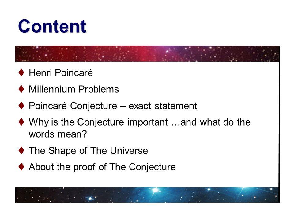 Content Henri Poincaré Millennium Problems