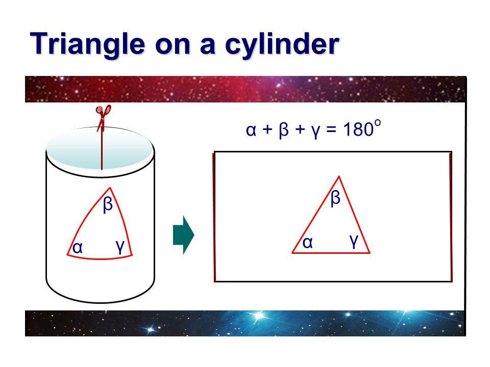 Triangle on a cylinder α + β + γ = 180o β β γ α γ α