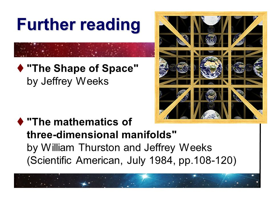 Further reading The Shape of Space by Jeffrey Weeks