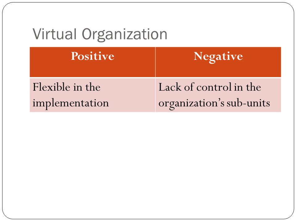 Virtual Organization Positive Negative Flexible in the implementation