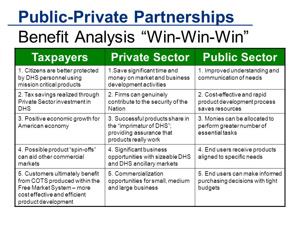 Public-Private Partnerships Benefit Analysis Win-Win-Win