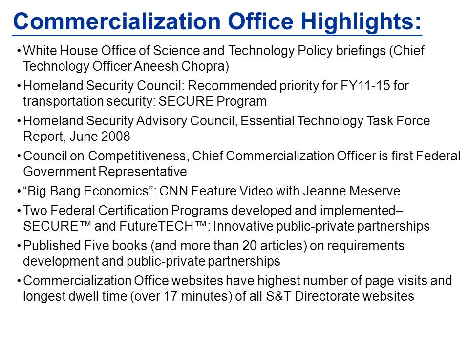Commercialization Office Highlights: