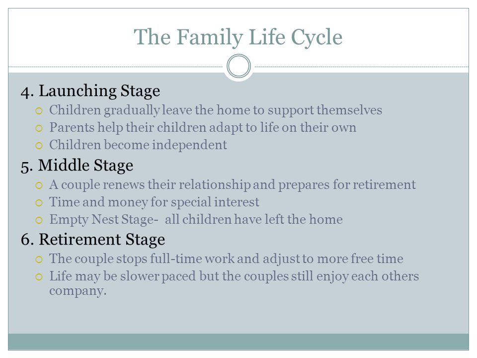 The Family Life Cycle 4. Launching Stage 5. Middle Stage