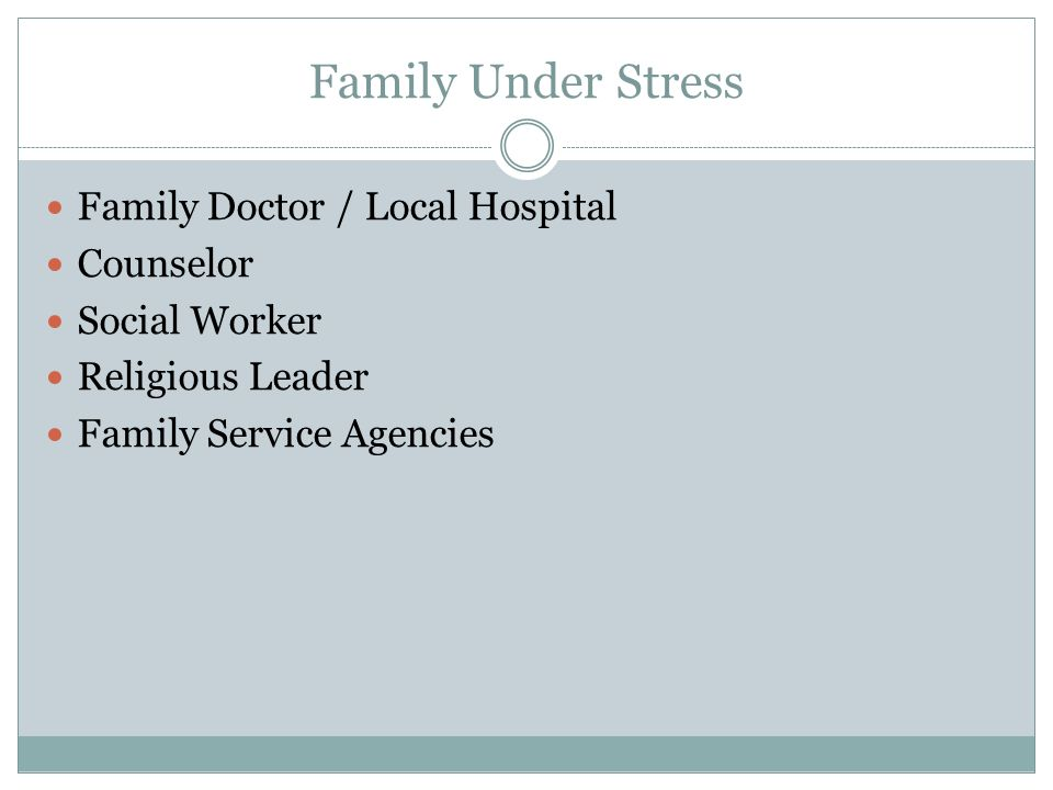 Family Under Stress Family Doctor / Local Hospital Counselor
