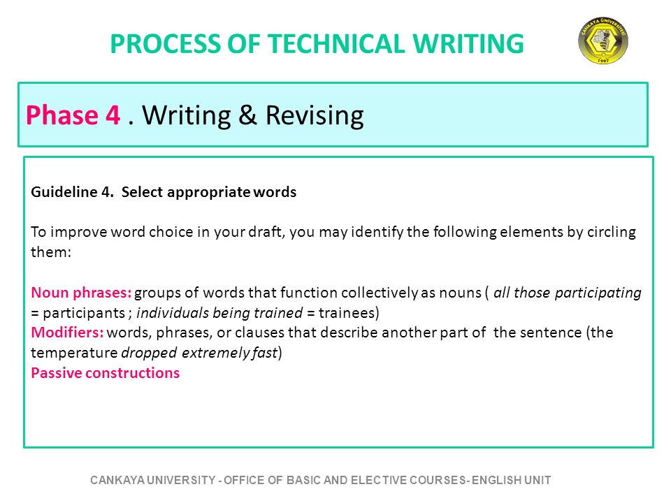 the technical writing process A process is a series of actions, and fundamentally the description of a process is the description of action the action may be either one of two types.