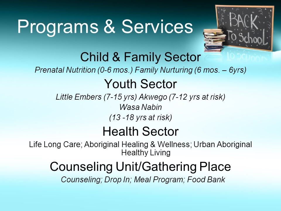Programs & Services Child & Family Sector Youth Sector Health Sector